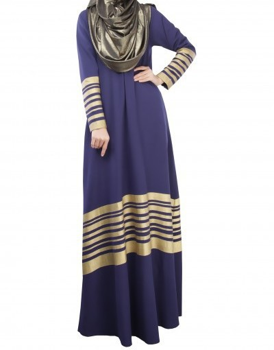 Stripped Abaya Blue