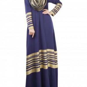 Stripped Abaya Blue