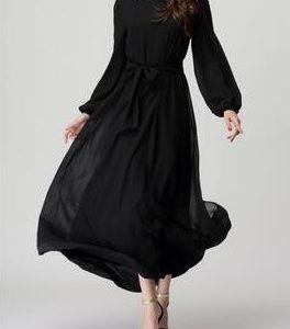 Chiffon Abaya Black 2